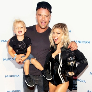 Josh Duhamel and Fergie with their son Axl attend Pandora Summer Crush at LA Live on August 13, 2016 in Los Angeles, California.