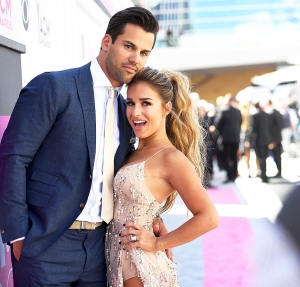 Eric Decker and Jessie James Decker attend the 52nd Academy Of Country Music Awards at T-Mobile Arena on April 2, 2017 in Las Vegas, Nevada.