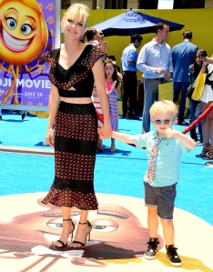"""Anna Faris and son Jack attend the premiere of """"The Emoji Movie"""" at Regency Village Theatre on July 23, 2017 in Westwood, California."""