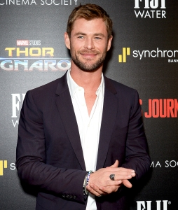 "Chris Hemsworth attends a screening of Marvel Studios' ""Thor: Ragnarok"" at the Whitby Hotel on October 30, 2017 in New York City."