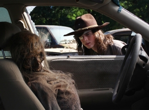 Chandler Riggs as Carl Grimes on Walking Dead, Season 8, Episode 1.