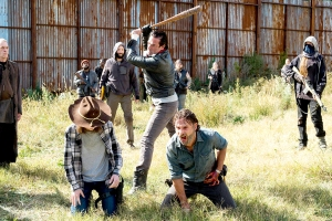 Andrew Lincoln as Rick Grimes, Chandler Riggs as Carl Grimes, Jeffrey Dean Morgan as Negan on The Walking Dead.