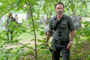 Andrew Lincoln as Rick Grimes and Norman Reedus as Daryl Dixon on The Walking Dead.