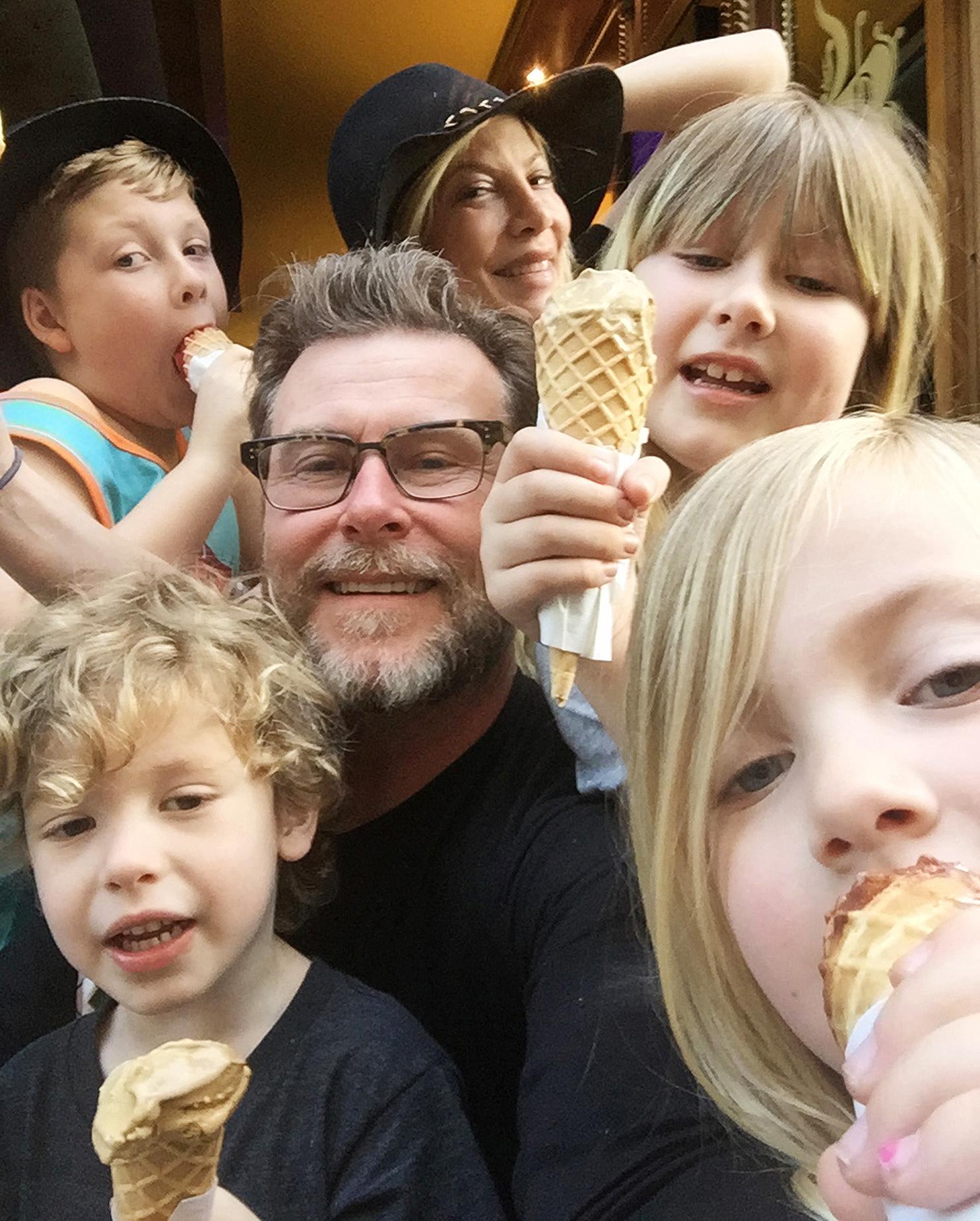 Tori Spelling Dean McDermott family Paris ice cream vacation - Tori Spelling and family getting ice cream at the famous Berthillon ice cream shop in Paris, France on May 16, 2016.