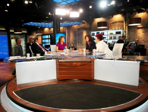 Charlie Rose, Norah O'Donnell, Julie Chen and Sharon Osbourne on the set of 'CBS This Morning'
