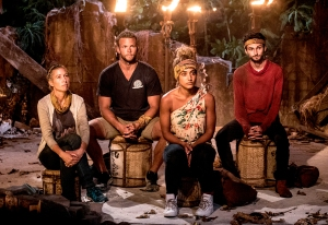 Chrissy Hofbeck, John Hilsabeck, Ali Elliott and Ryan Ulrich at Tribal Council on Survivor themed 'Heroes vs. Healers vs. Hustlers'