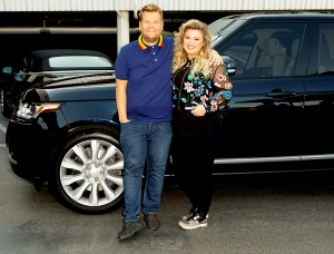 Kelly Clarkson performs in a Carpool Karaoke with James Corden during 'The Late Late Show with James Corden'