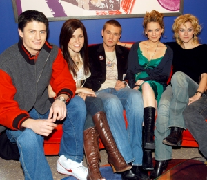 James Lafferty, Sophia Bush, Chad Michael Murray, Bethany Joy Lenz and Hilarie Burton of 'One Tree Hill' cast on MTV's TRL in 2005.