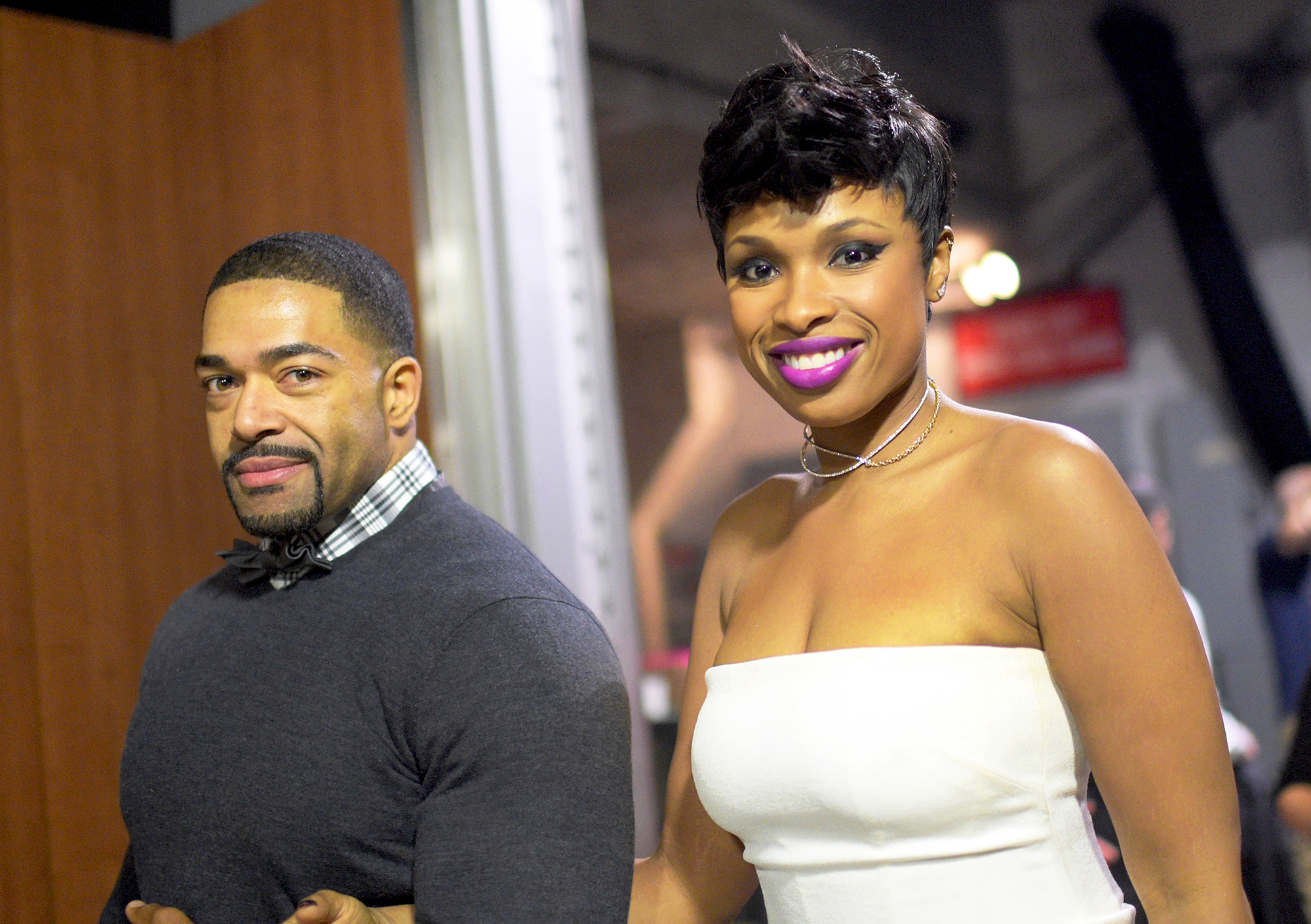 Jennifer Hudson and David Otunga attend The 57th Annual Grammy Awards at Staples Center in Los Angeles California