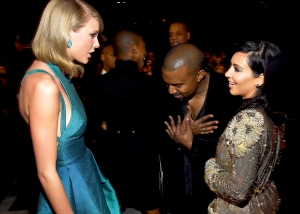 Taylor Swift, Kanye West and Kim Kardashian attend The 57th Annual Grammy Awards at the STAPLES Center on February 8, 2015 in Los Angeles, California.