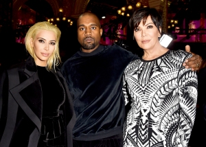 Kim Kardashian, Kanye West and Kris Jenner attend the Balmain show during Paris Fashion Week Womenswear Fall/Winter 2015/2016 in Paris, France.
