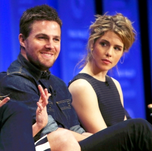 Stephen Amell and Emily Bett Rickards attend The Paley Center For Media's 32nd Annual PALEYFEST LA at the Dolby Theatre in Hollywood, California.