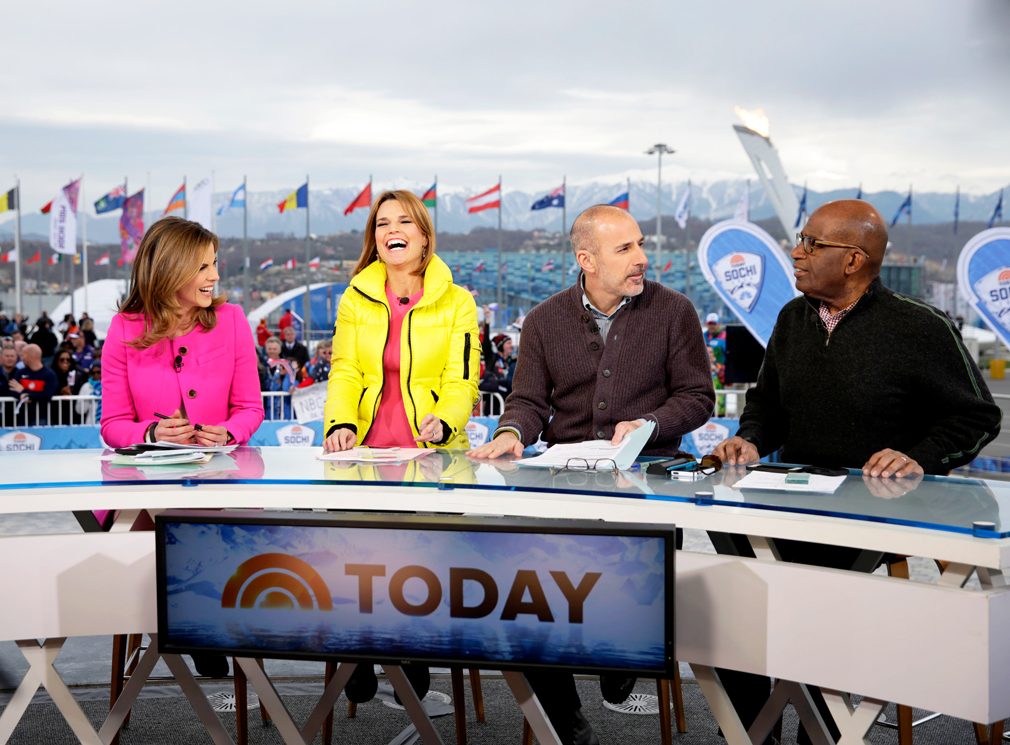 Natalie Morales, Savannah Guthrie, Matt Lauer and Al Roker during the NBC 'Today' show at the the Sochi 2014 Winter Olympics in Sochi, Russia.