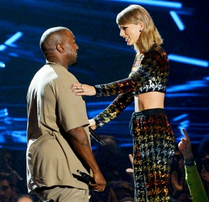 Kanye West and Taylor Swift during the 2015 MTV Video Music Awards at Microsoft Theater on August 30, 2015 in Los Angeles, California.
