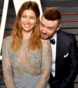Jessica Biel and Justin Timberlake arrive at the 2016 Vanity Fair Oscar Party Hosted By Graydon Carter at Wallis Annenberg Center for the Performing Arts in Beverly Hills, California.