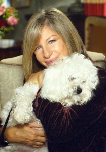 Barbra Streisand with her dog Samantha