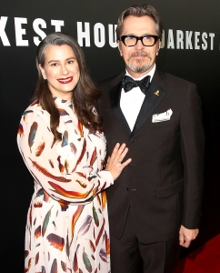 Gary Oldman and Gisele Schmidt attend the premiere of Focus Features 'Darkest Hour' at Samuel Goldwyn Theater on November 8, 2017 in Beverly Hills, California.