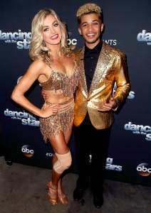 "Jordan Fisher and Lindsay Arnold pose at ""Dancing with the Stars"" season 25 at CBS Televison City on November 13, 2017 in Los Angeles, California."
