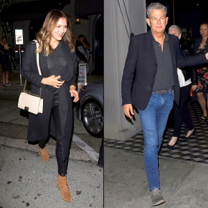 Katharine McPhee and David Foster leaving separately after a dinner outing at Craig's restaurant in West Hollywood on November 6, 2017.