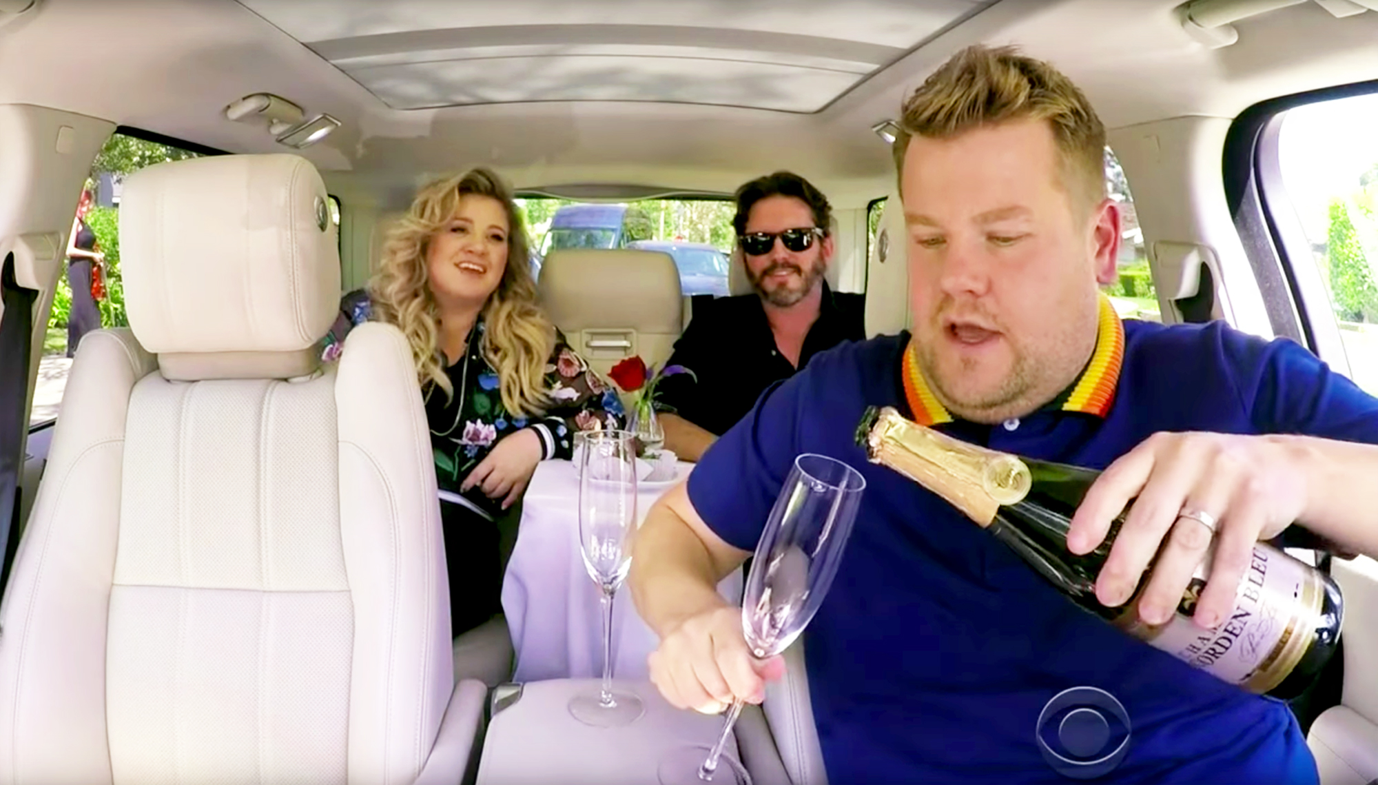 Kelly Clarkson and Brandon Blackstock during Carpool Karaoke with James Corden during 'The Late Late Show with James Corden