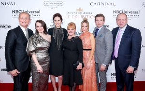 Kevin MacLellan, Chairman, Global Distribution & International, NBCUniversal; Sophie McShera; Michelle Dockery; Lesley Nicol; Joanne Froggatt; Allen Leech; Gareth Neame, Series Creator and Executive Producer, Downton Abbey attend The VIP Opening of Downton Abbey: The Exhibition