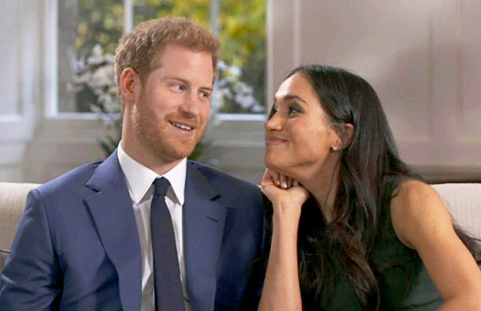 Prince Harry and Meghan Markle during interview outtakes
