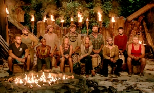 "John ""JP"" Hilsabeck, Joe Mena, Desiree Williams, Devon Pinto, Ashley Nolan, Cole Medders, Chrissy Hofbeck, Ben Driebergen, Mike Zahalsky, Ryan Ulrich and Lauren Rimmer at Tribal Council on Survivor themed Heroes vs. Healers vs. Hustlers"