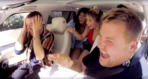 Sam Smith and Fifth Harmony perform in a Carpool Karaoke with James Corden during 'Late Late Show with James Corden'
