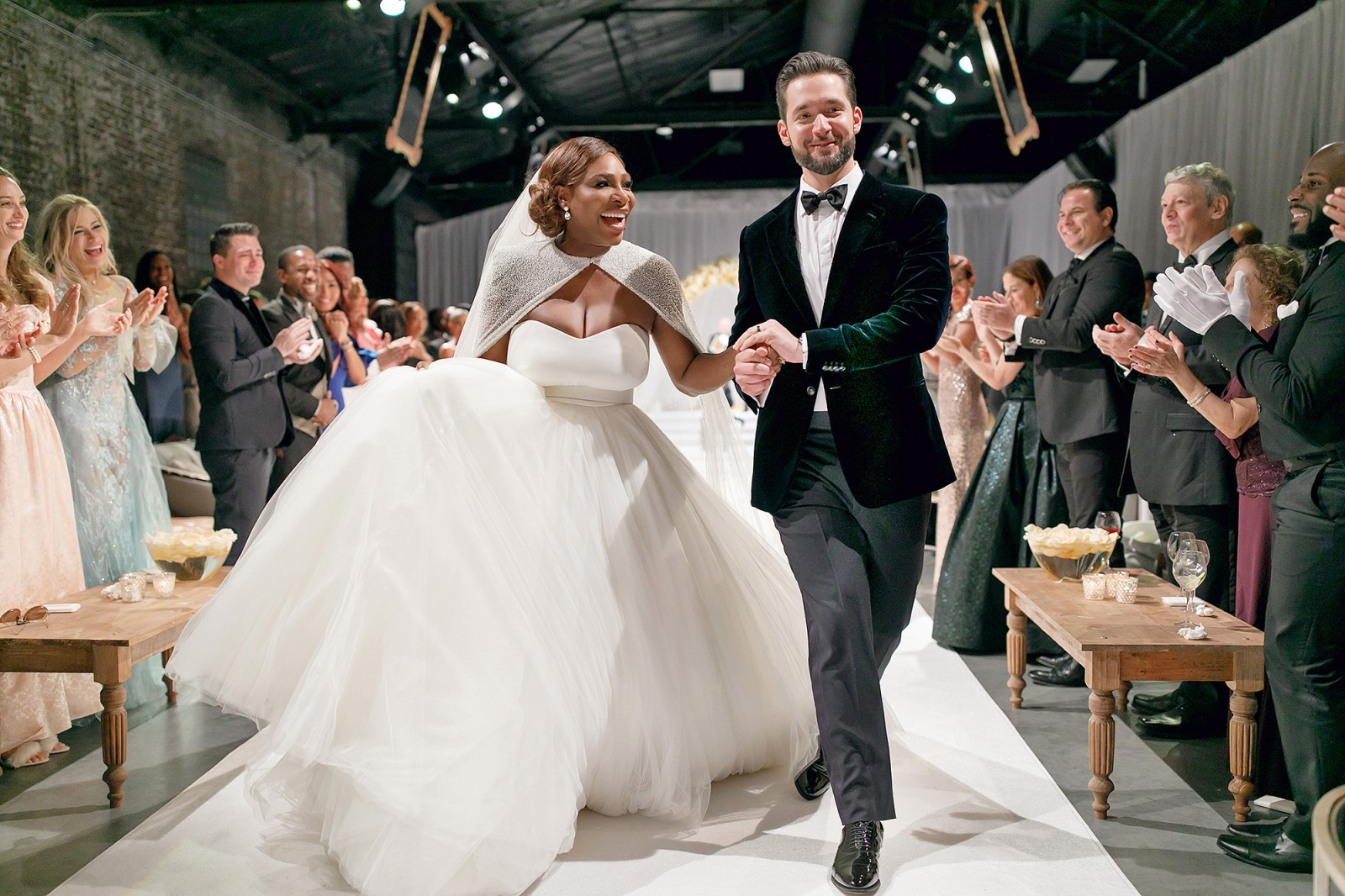 Guests welcoming Serena Williams and Alexis Ohanian in the marriage hall