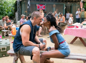 Steve Howey and Shanola Hampton as Kevin Ball and Veronica Fisher in 'Shameless'