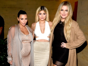Kim Kardashian, Kylie Jenner and Khloe Kardashian host a dinner and preview of their new apps launching at Nobu Malibu on September 1, 2015 in Malibu, California.