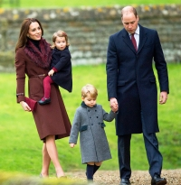 Prince William, Duke of Cambridge, Catherine, Duchess of Cambridge, Prince George of Cambridge and Princess Charlotte of Cambridge attend Church on Christmas Day on December 25, 2016 in Bucklebury, Berkshire.