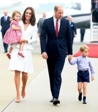 Catherine, Duchess of Cambridge, Princess Charlotte of Cambridge, Prince William, Duke of Cambridge and Prince George of Cambridge arrive at Warsaw airport on July 17, 2017 in Warsaw, Poland.
