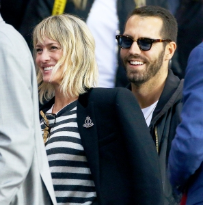 Robin Wright and Clement Giraudet attends the UEFA Champions League group B match at Parc des Princes on September 27, 2017 in Paris, France.