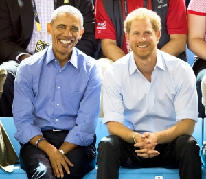 Barack Obama and Prince Harry watch the wheelchair basketball on day 7 of the Invictus Games Toronto 2017 on September 29, 2017 in Toronto, Canada.