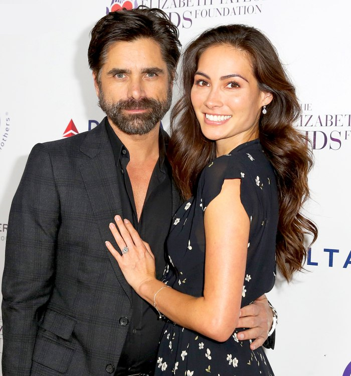 John Stamos and Caitlin McHugh attend The Elizabeth Taylor 2017 AIDS Foundation and mothers2mothers dinner at Ron Burkle's Green Acres Estate in Beverly Hills, California.