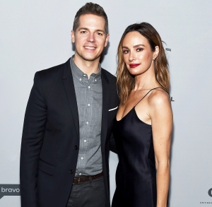 Jason Kennedy and Catt Sadler arrive at NBCUniversal's Press Junket at Beauty & Essex on November 13, 2017 in Los Angeles, California.