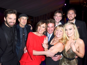 "Sebastian Stan, Craig Gillespie, Allison Janney, Steven Rogers, Bryan Unkeless, Tonya Harding, Ricky Russert and Margot Robbie attend NEON and 30WEST Present the Los Angeles Premiere of ""I, Tonya"" Supported By Svedka on December 5, 2017 in Los Angeles, California."