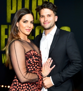 "Katie Maloney and Tom Schwartz attend the premiere of Universal Pictures' ""Pitch Perfect 3"" at Dolby Theatre on December 12, 2017 in Hollywood, California."