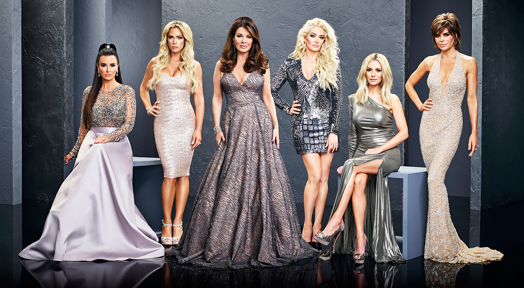 Kyle Richards, Teddi Mellencamp Arroyave, Lisa Vanderpump, Erika Girardi, Dorit Kemsley, Lisa Rinna on season 8 of The Real Housewives of Beverly Hills