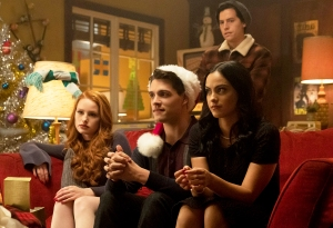 Madelaine Petsch as Cheryl Blossom, Casey Cott as Kevin Keller, Camila Mendes as Veronica Lodge, Ashleigh Murray as Josie McCoy, and Cole Sprouse as Jughead Jones on 'Riverdale'