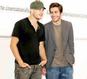 Heath Ledger and Jake Gyllenhaal attend the 2005 Venice Film Festival in Venice, Italy.