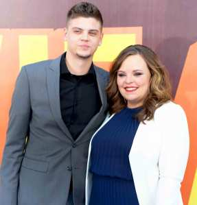 Tyler Baltierra and Catelynn Lowell attend the 2015 MTV Movie Awards at Nokia Theatre L.A. Live in Los Angeles.
