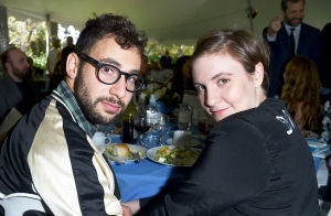 Jack Antonoff and Lena Dunham attend The Rape Foundation's annual brunch at Greenacres, The Private Estate of Ron Burkle, in Beverly Hills.