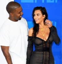 Kim Kardashian and Kanye West arrive for the 2016 MTV Video Music Awards at Madison Square Garden in New York City.