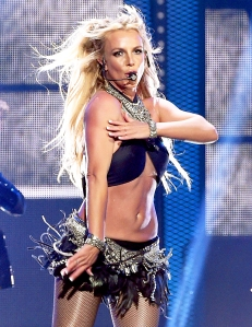 Britney Spears performs on stage in Las Vegas.