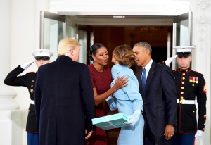 Barack Obama, Michelle Obama, Donald Trump and Melania Trump to the White House in Washington, DC on January 20, 2017.