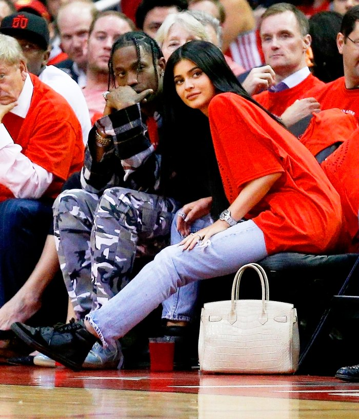 Travis Scott and Kylie Jenner watch court side during Game Five of the Western Conference Quarterfinals game of the 2017 NBA Playoffs at Toyota Center on April 25, 2017 in Houston, Texas.
