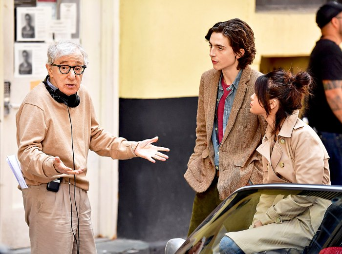 Woody Allen, Timothe Chalamet and Selena Gomez seen on location for Woody Allen's A Rainy Day in New York on September 11, 2017 in New York City.
