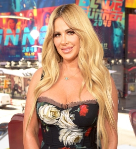 "Kim Zolciak visits ""Extra"" at Times Square in New York City."